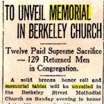 Coupure de presse – Article de journal consacré à l¿inauguration de la Plaque commémorative à l¿église méthodiste de la rue Berkeley, en mai 1920.