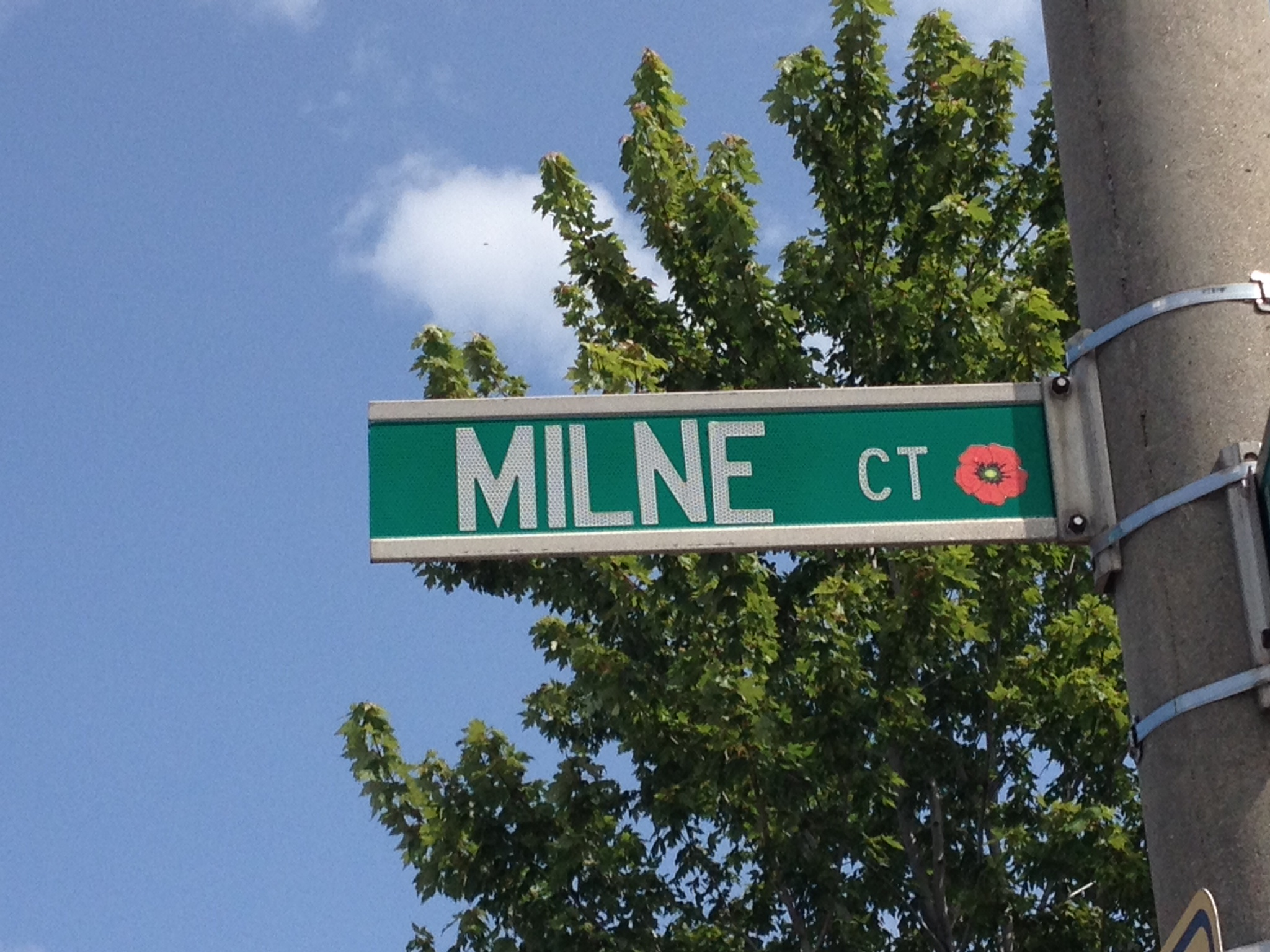 Memorial Street– Barrie street named in honour of Private Edwin Arden Milne with a poppy.
