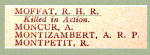 Name on the Roll of Honour– Detail of Pte. Robert Hugh Moffat's name on the Merchants Bank of Canada 1914 - 1918 Roll of Honour.