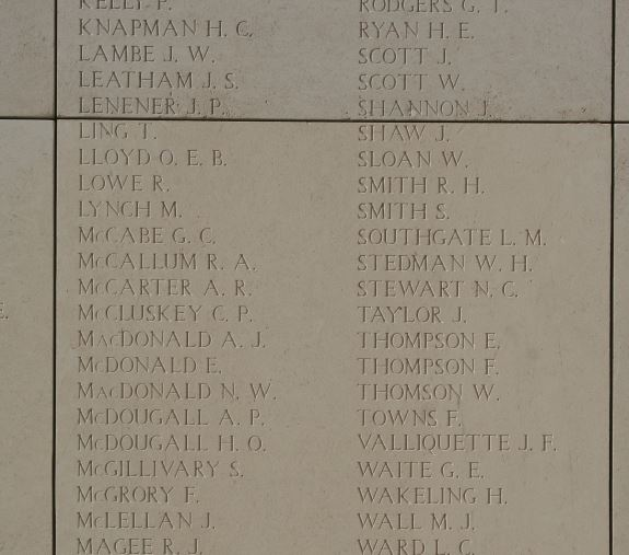 Memorial– Private John Montanelli's name is on the 13th Canadian Infantry Battalion panel on the Menin Gate Memorial in Ypres, Belgium. His name should be on the Vimy Memorial in France, as he was not killed in action in Belgium.