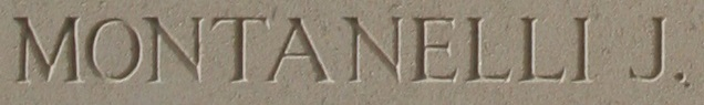 """Memorial– Extract of the Menin Gate Memorial Panel showing the name """"Montanelli J""""."""