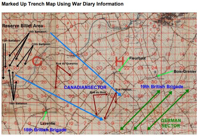 Trench map (marked)– The location of the battlefield burial site of Private John Montanelli is marked (orange star), to the rear of the front line trenches on the north side of Rue Petillon. The trench map coordinates are 36.N.3.c.4.0. The trench map was marked by the author of the article on the Battle of Bois Grenier (Richard Laughton) which shows the location of the Canadian Expeditionary Force during the battle in March 1915. The map was compiled using information from the War Diary of the 3rd Canadian Infantry Brigade, of which the 13th Infantry Battalion was a component.