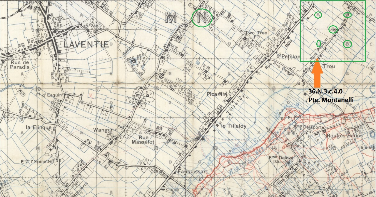 """Trench Map– The location of the battlefield burial site of Private John Montanelli is marked (orange arrow), on a detailed period trench map. The remains were buried at the time of his death at location 36.N.3.c.4.0. The trench map is marked to show that the map shows Sector N (green circle) and Sub-Sector 3 (green square). That square is 1,000 yards by 1,000 yards. Within that green square (36.N.3) there are four (4) smaller squares shown as """"a, b, c, and d"""". Each of those smaller squares are 500 yards by 500 yards. The body was buried at the time in the south east square (36.N.3.c). Each small lettered square is marked with ten (10) """"hash lines"""", which are at 50 yard intervals. Pte. Montanelli was buried 200 yards to the east (4 x 50 yards) of the lower corner of the """"c"""" square (36.N.3.c.4.0)."""