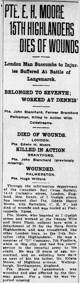 Newspaper clipping– From the London Free Press August 1915. Submitted for the project Operation Picture Me