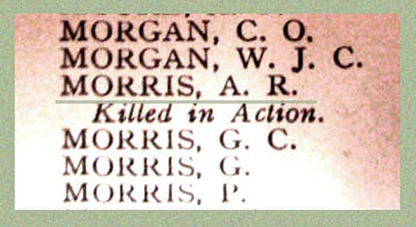 Name on the Roll of Honour