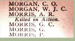 Name on the Roll of Honour– Detail of Pte. Arthur Russell Morris' name on the Merchants Bank of Canada 1914 - 1918 Roll of Honour.