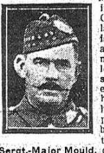 Newspaper Clipping– Sgt. John Robert Mould enlisted in the First Canadian Contingent at Valcartier Camp, Quebec, on September 19th, 1914.  He was born in Nottingham, England.