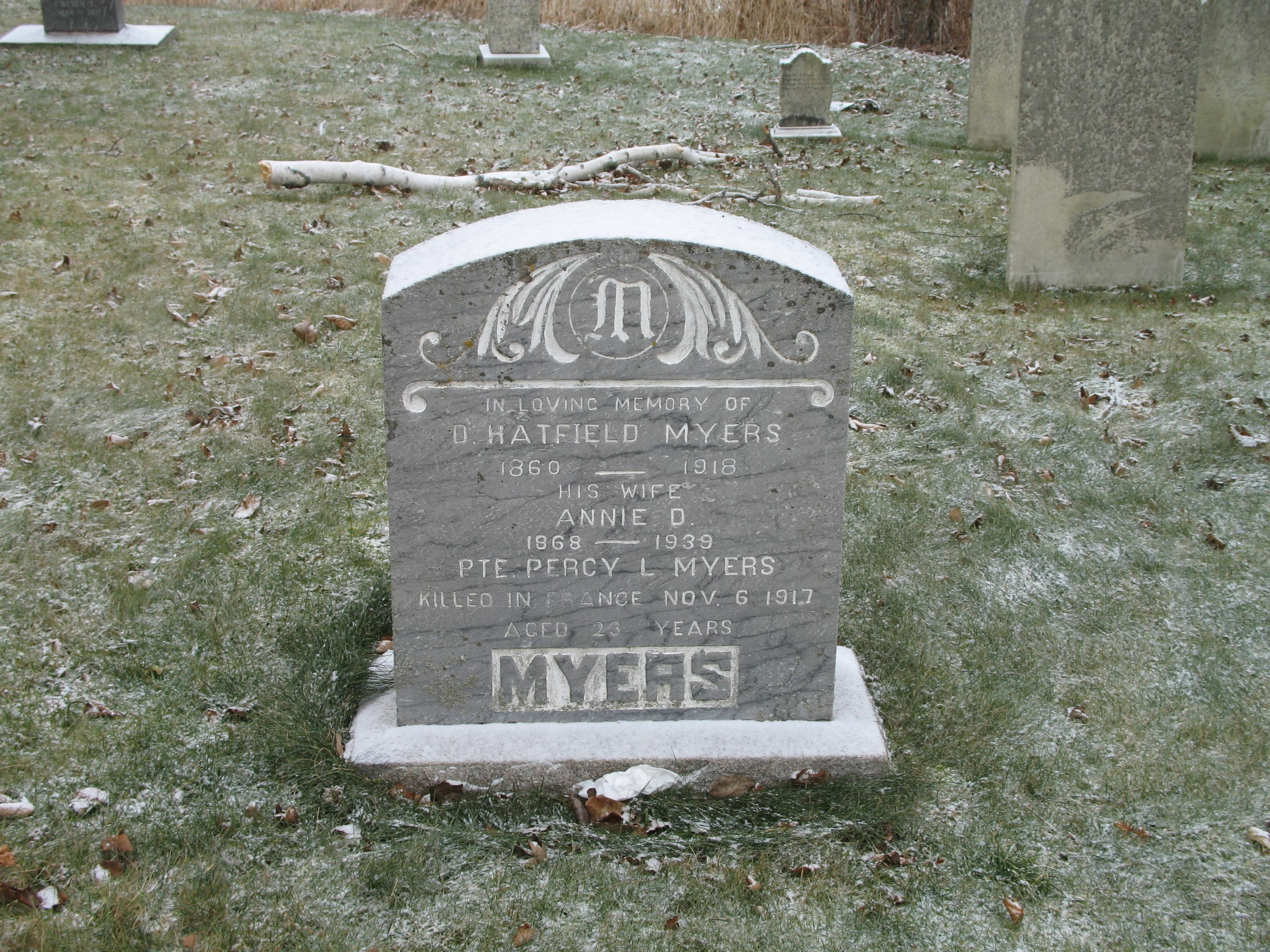 Family Memorial– Grave site for Percy l. Myers (with parents), Anglican Church, Bloomfield, Kings County, New Brunswick.