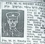 Press clipping– Private Walter Henry Newby's death notice in a Toronto area newspaper November 1917.