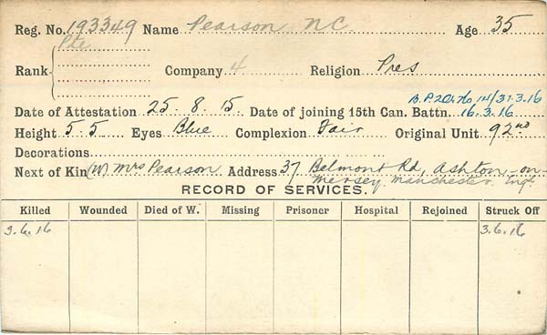 Record of Service– Record of Service Card(front side).  Courtesy 48th Highlanders of Canada Regimental Museum.  Submitted by 15th Bn Memorial Project Team.