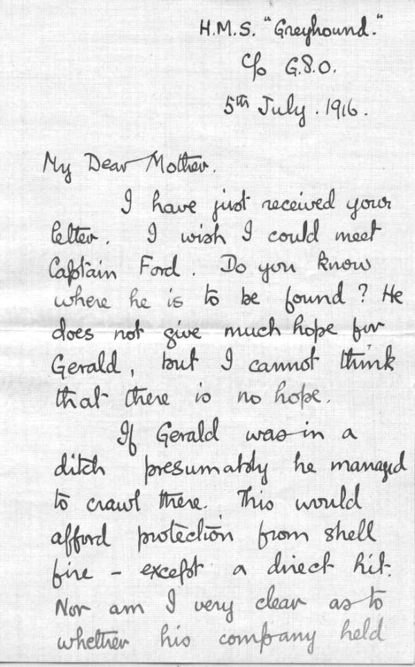 Letter from brother, Frederick Peters VC