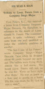 Newspaper clipping– clipping in Prince Rupert Empire on bravery of G.H. Peters