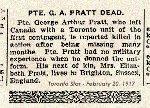 Coupre de presse – Le caporal G.A. Pratt s'est engagé au camp Valcartier et fut affecté au contingent canadien en septembre 1914.