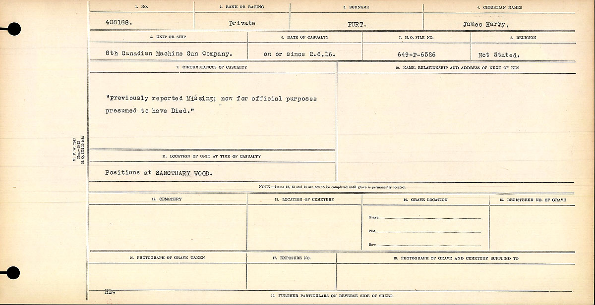 Attestation Papers– Circumstances of Death- Private James Henry Purt