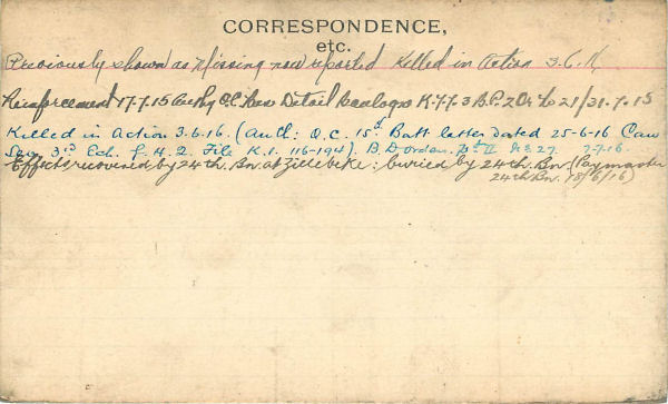 Record of Service Card (Reverse)
