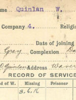 Record of Service Card (Front)– Record of Service Card (front) courtesy 48th Highlanders of Canada Museum.  submitted by 15th Bn Memorial Project Team.