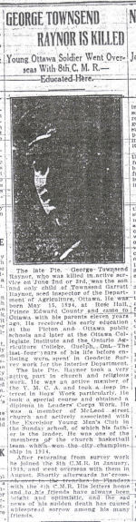 Newspaper Clipping– This article on George Townsend Raynor is from the June 23, 1916 issue of the Ottawa Journal.