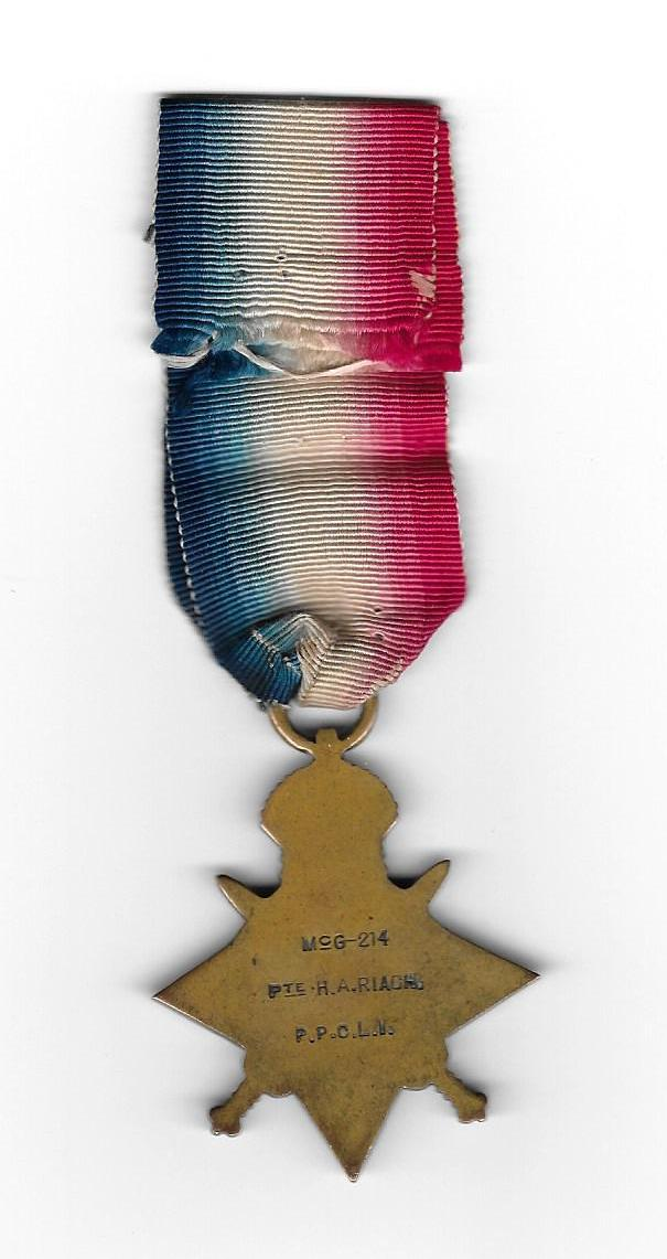Medal– 1914-15 Star, named to McG 214, Pte. H.A. Riach, P.P.C.L.I.