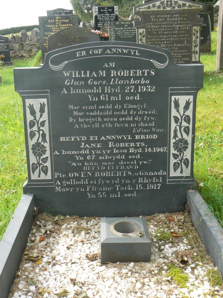 Family Memorial– Gravestone (for his brother and brother's widow) at Holy Trinity Churchyard, Bryngwran, Anglesey, Wales, commemorating 830012 Private Owen Roberts, 44th Canadian Infantry.  Note they give his age as 55 years.
