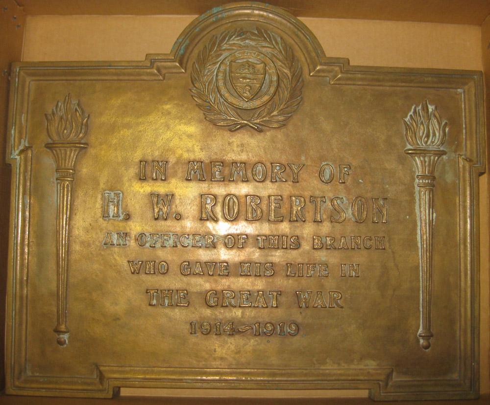 Memorial Plaque– War memorial installed 1921, Scotiabank Sackville, Nova Scotia