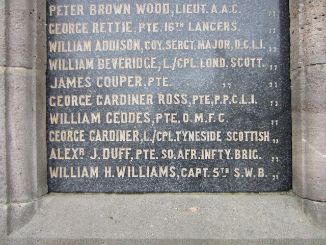 Inscription– Inscription of George Ross's name on the War Memorial at Cullen, Moray, Scotland. Image taken 28 March 2015 by Tom Tulloch.