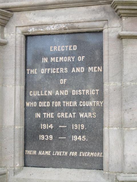Inscription– Inscription on War Memorial at Cullen, Moray, Scotland. Image taken 28 March 2015 by Tom Tulloch.