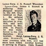 Newspaper Clipping– Pte. Alexander Russell is mentioned in this article about his brother Lance-Corporal James S. Russell.