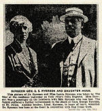 Newspaper Clipping– Captain George C. Ryerson's father and sister.  Surgeon General George Sterling Ryerson survived the sinking of the Lusitania on May 7th, 1915.  His mother, Mary Amelia Crowther (Mrs. Ryerson) was drowned when her lifeboat capsized.  Her daughter Laura, shown in this photo, was saved.