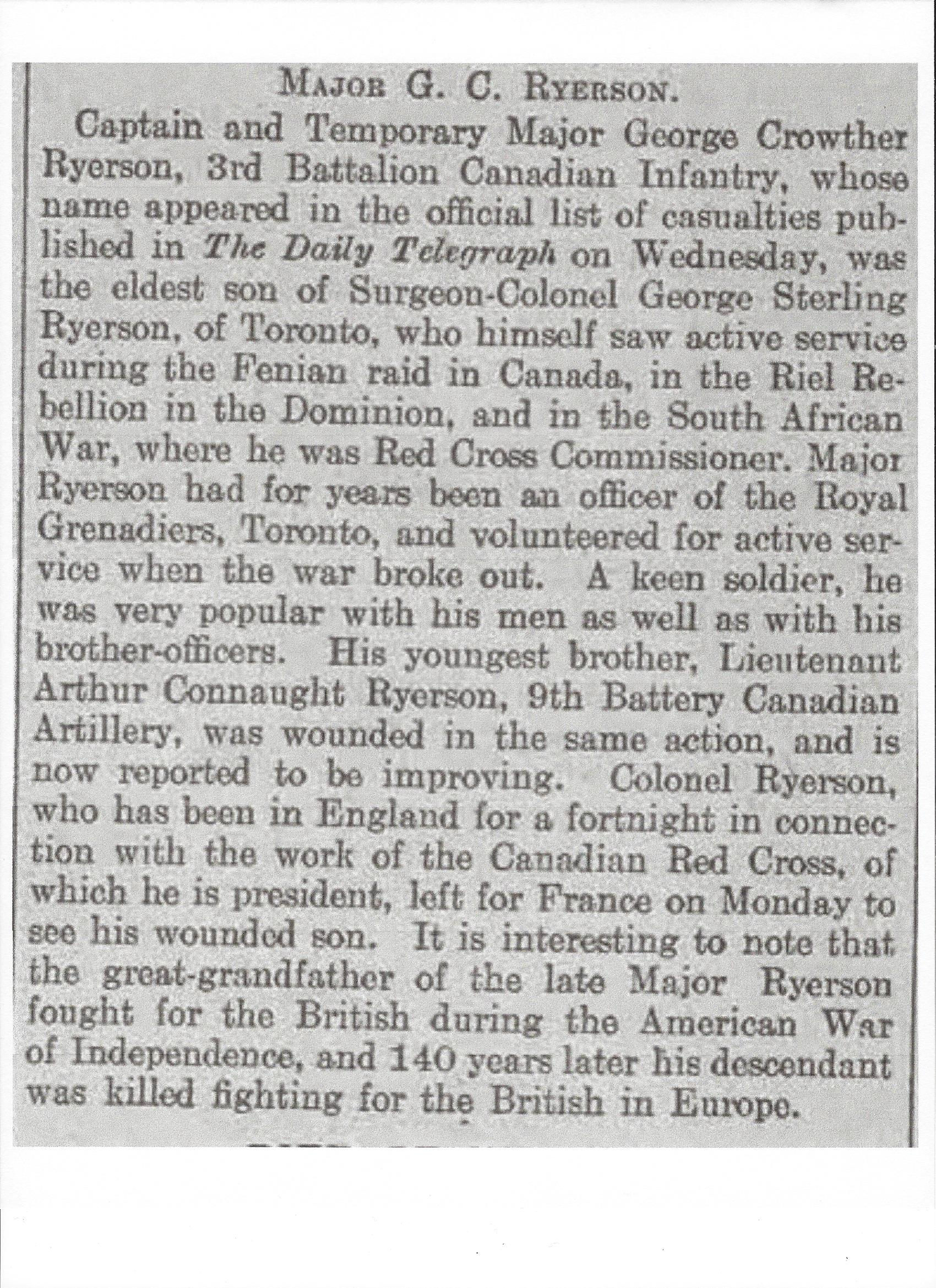 Newspaper Clipping– Newspaper clipping from Daily Telegraph of April 30, 1915. Image taken from web address of http://www.telegraph.co.uk/news/ww1-archive/11561799/Daily-Telegraph-April-30-1915.html