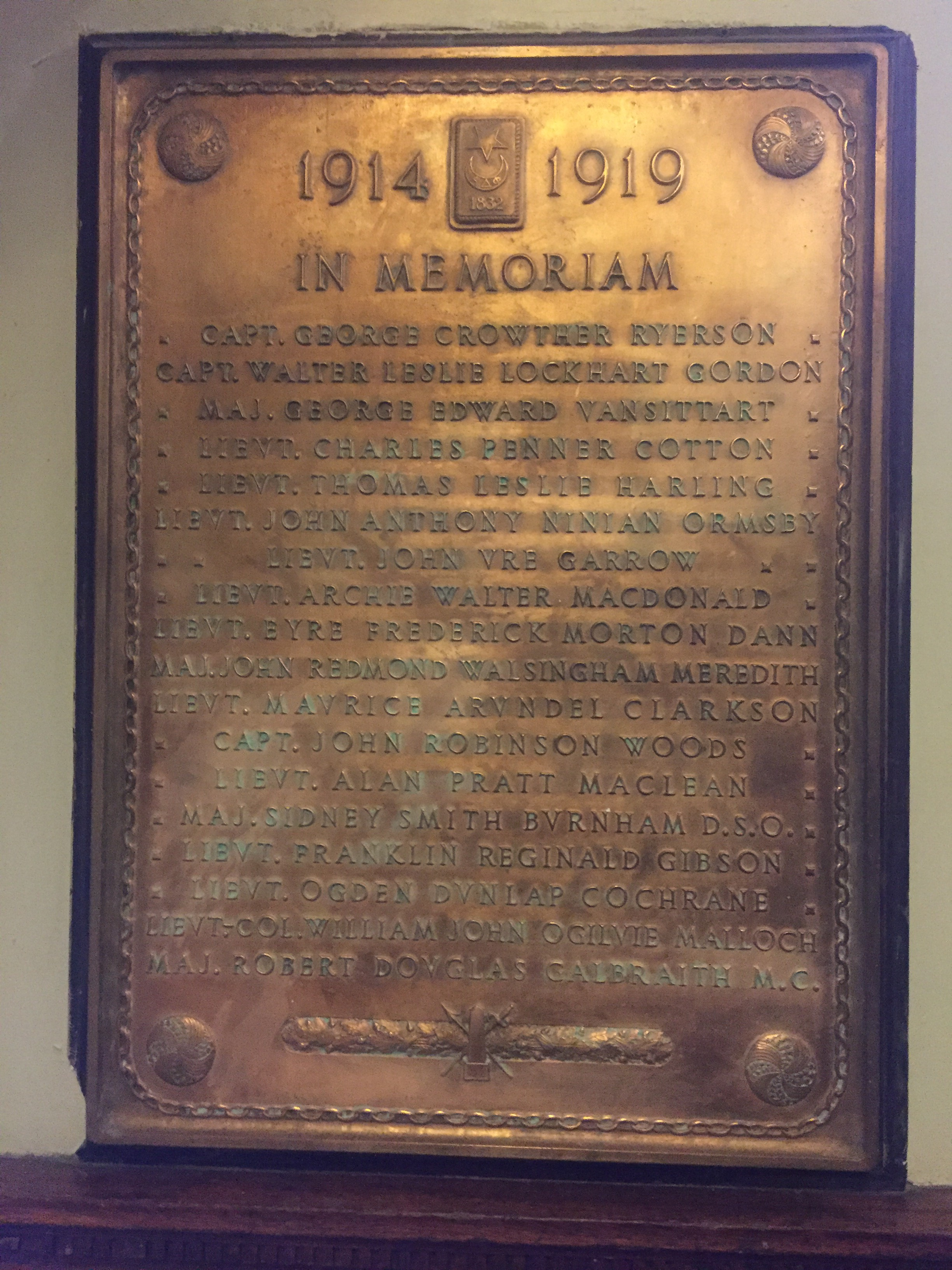 Memorial Plaque– Memorial Plaque – Lt. George Crowther Ryerson is remembered on this bronze memorial plaque. It is found in the foyer of the Alpha Delta Phi Chapter House at 94 Prince Arthur Avenue