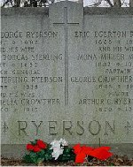 Family Monument– Captain George Crowther Ryerson is remembered on the Ryerson family monument located in St. James Cemetery, Parliament Street, Toronto, Ontario.