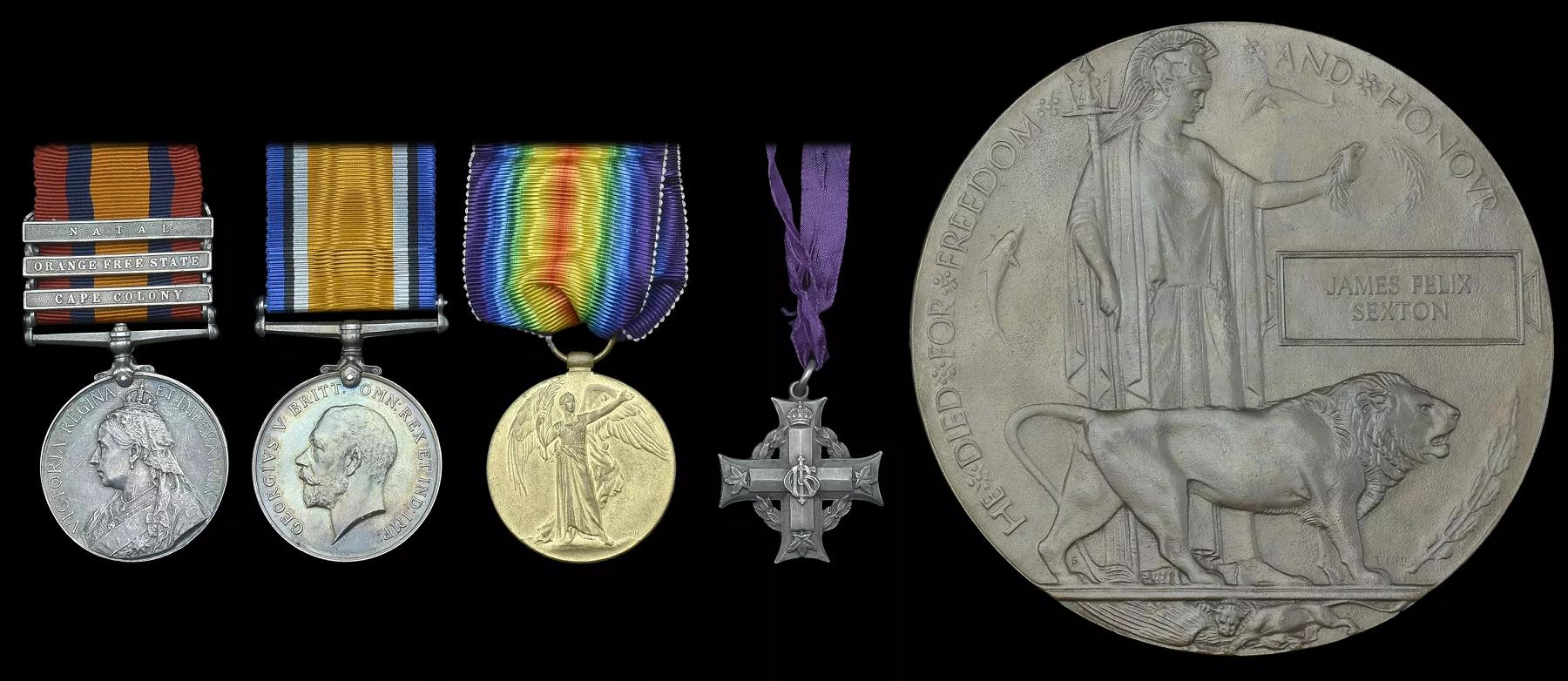 Medals– Medal/Memorial group to acting Company Sergeant Major James Felix Sexton.