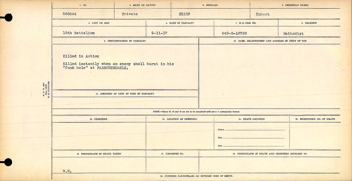 """Circumstances of Death Registers– """"Killed in Action"""" Killed instantly when an enemy shell burst in his """"funk hole"""" at PASSCHENDAELE.  Contributed by E.Edwards www.18thbattalioncef.wordpress.com"""