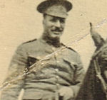 "Photo of James Sharpe– Sergeant James Sharp 1210/106547 ""A"" Squadron, 1st Canadian Mounted Rifles. Outside Brandon Armoury January 1915."