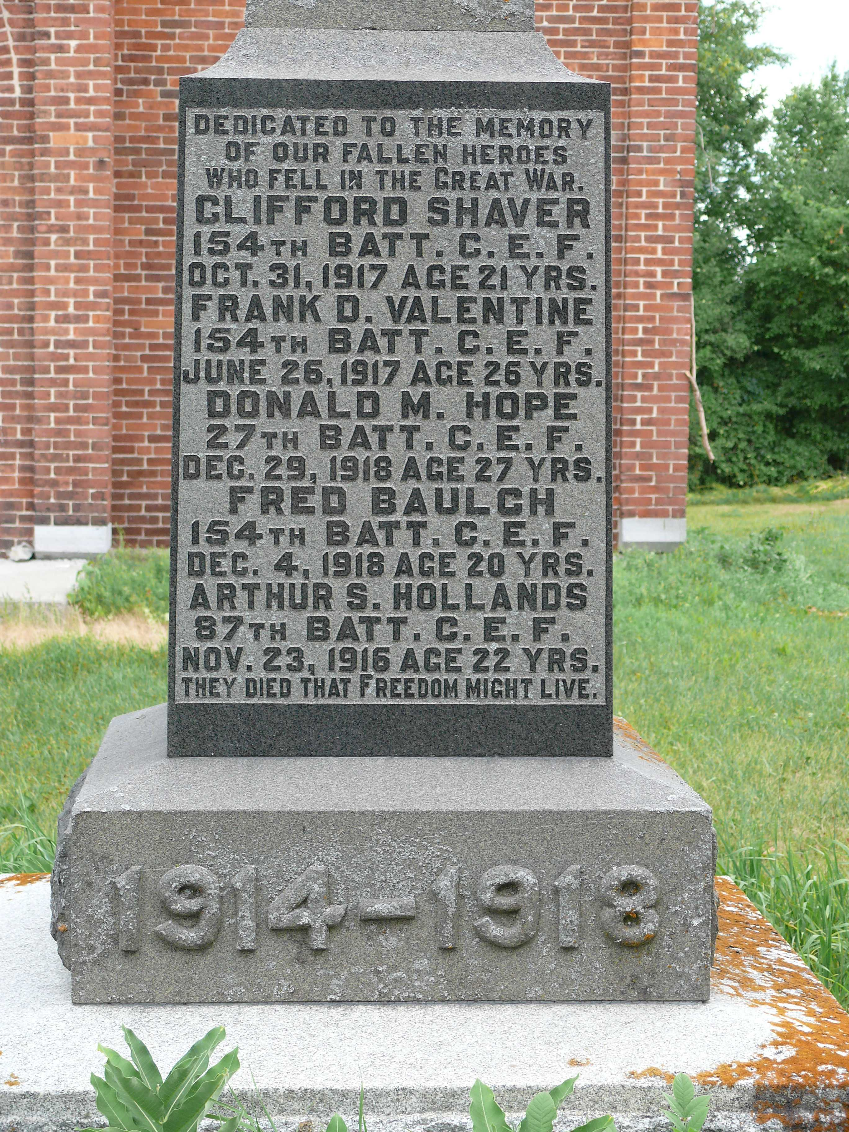 Cenotaph– Van Camp, Ontario