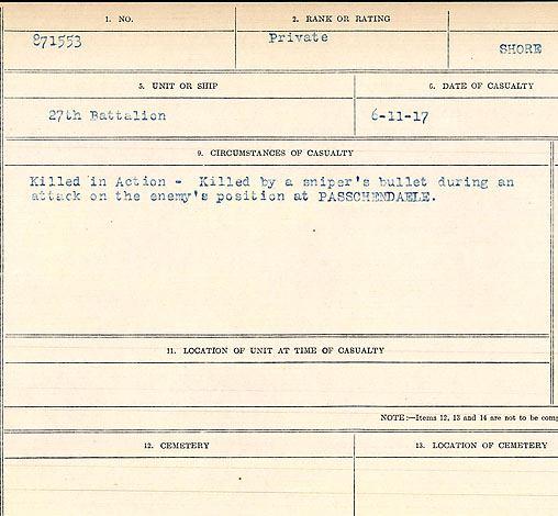 Circumstances of death registers– Private Stanley Richard Shore
