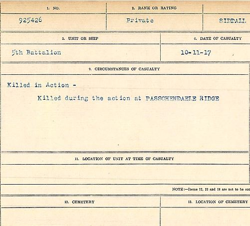 Circumstances of death registers– Private Henry Ashton Siddall