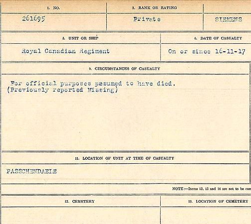 Circumstances of death registers– Private Peter Siemens