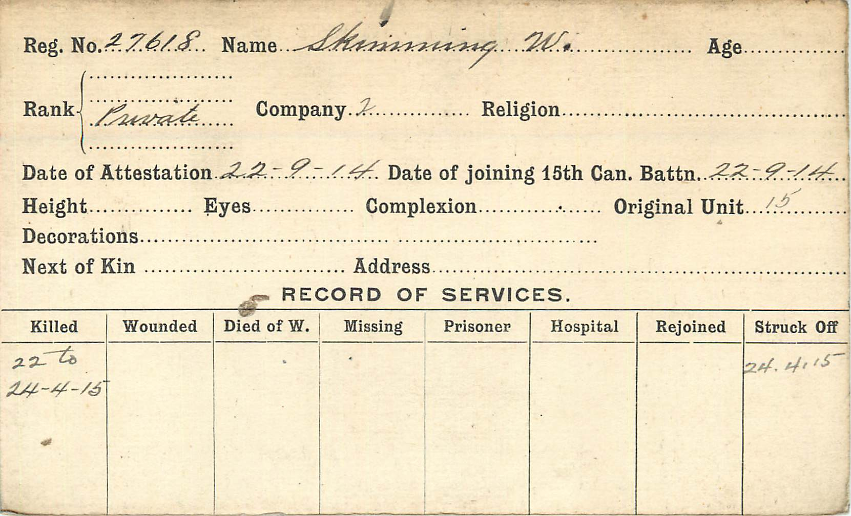 Record of Service– Record of Service Card (front side). Notice difference in spelling of surname. From archives 48th Highlanders of Canada Regimental Museum.  Submitted by 15th Bn Memorial Project Team.  DILEAS GU BRATH