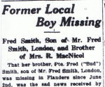 Newspaper Clipping– Newspaper article from the June 30th 1916 Stratford Daily Beacon edition regarding Frederick A Smith missing in action.