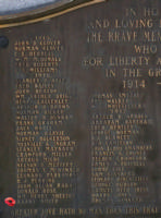Cenotaph– Private Harry Smith is also commemorated on the WWI cenotaph in Orillia, ON … photo courtesy of Marg Liessens