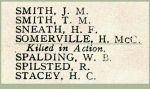 Nom sur le Tableau d'honneur – Détails du nom de Soldat Hugh Somerville sur la liste d'honneur de 1914-1918 de la Merchants Bank of Canada.