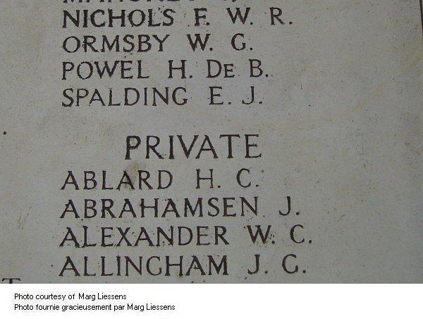 Inscription sur Mémorial de la Porte de Menin (Ypres)