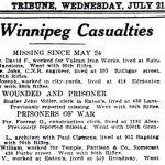 Coupure de presse  – Liste des pertes tirée du journal Winnipeg Evening Tribune du 21 juillet, 1915.