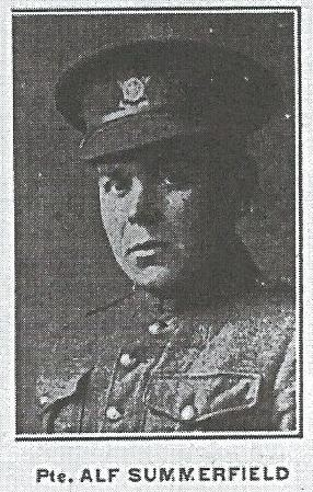 Newspaper Clipping– Pvt. Alf Summerfield. From the Wallaceburg News, January 1918. Contributed by E.Edwards www.18thbattalioncef.wordpress.com
