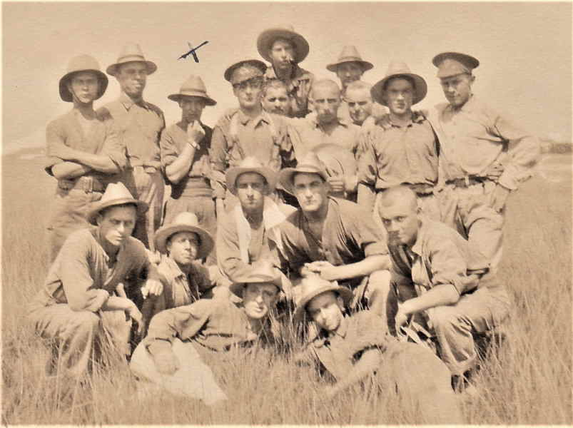 Group Photo– Martin Sweeney (under the X) with fellow Irish-Canadian Rangers (Batt 199, Reg 55) later sent to reinforce the 24th Battalion.