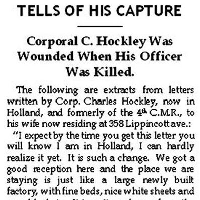 Press Clipping– This interview with Corp. Charles Hockley, 4th C.M.R., discusses the circumstances surrounding the death of Captain John Hannaford Symons.