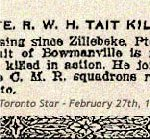Newspaper Clipping– Pte. Tait signed his military attestation at Barriefield, Ontario, on September 7th, 1915. Barriefield was a military training camp.