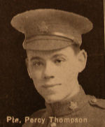 Photo of Percy Thompson– In memory of the men and women from the Waterloo area who went to war and did not come home. From the booklet, Peace Souvenir – Activities of Waterloo County in the Great War 1914 – 1918. From the Toronto Public Library collection.  Submitted for the project, Operation: Picture Me.