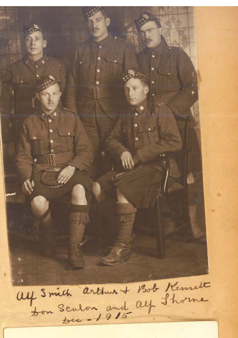 Photo of Alfred Henry Thorne– Pte Alfred Henry Thorne (seated front right) was member of the 92nd Battalion (48th Highlanders) prior to his transfer to the CMGC. Submitted by BGen G Young, 15th Battalion CEF Memorial Project Dileas Gu Brath
